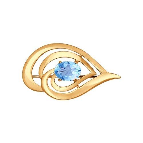 Брошь из золота с голубым топазом