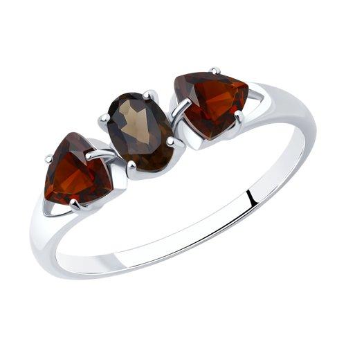 Серебряное кольцо с полудрагоценными вставками 92011589
