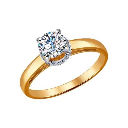 Помолвочное кольцо из комбинированного золота с бриллиантами (9010038) - фото