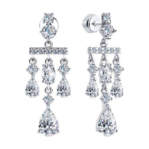 Серьги из серебра с фианитами (94023564) - фото №2