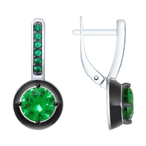 Серьги из серебра с эмалью и зелеными ситаллами и фианитами