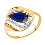 Кольцо из золота с синим корундом (синт.) и фианитами