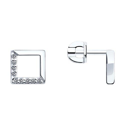 Серьги из серебра с фианитами (94023039) - фото
