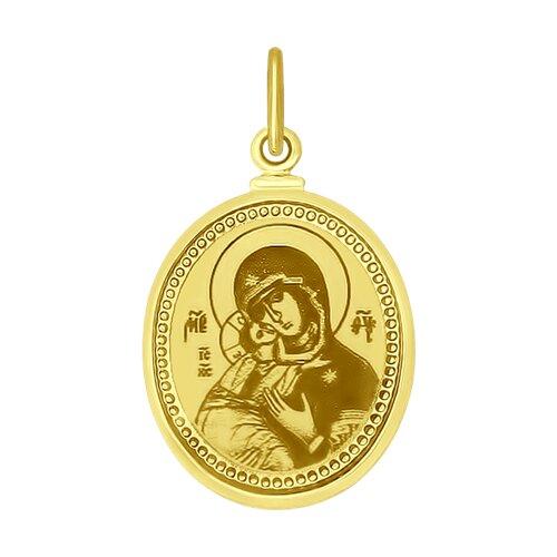 Подвеска Икона Божьей Матери Владимирская из желтого золота с лазерной обработкой и эмалью