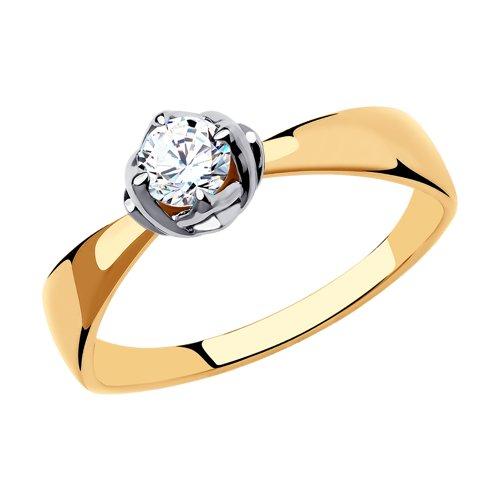 Кольцо из золота с фианитом Сваровски 81010473 SOKOLOV фото