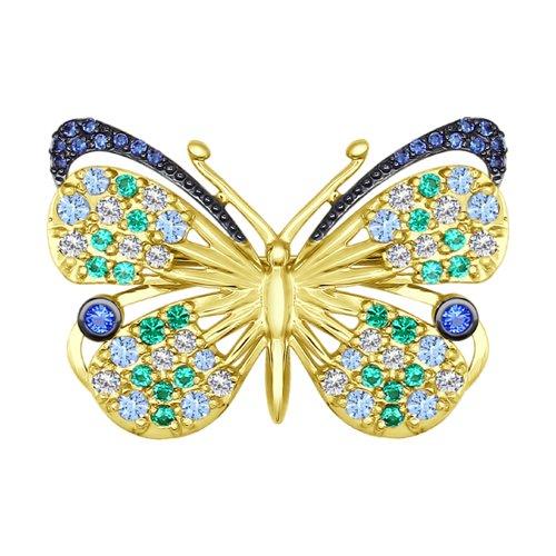 Брошь из жёлтого золота «Бабочка» (040196-2) - фото
