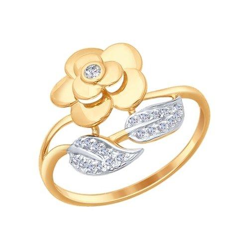 Кольцо «Роза» из золота с фианитами