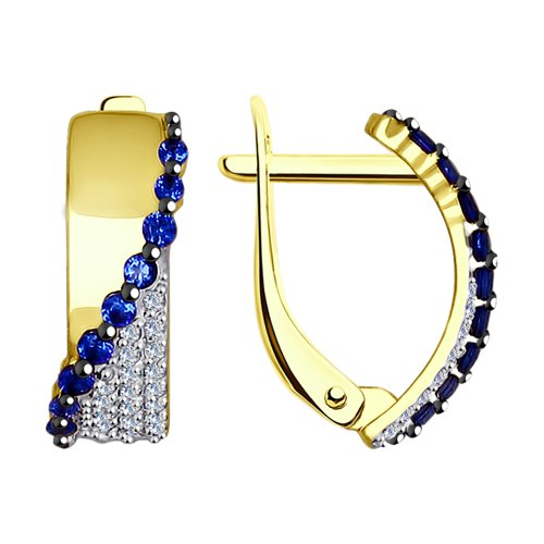 Серьги из желтого золота с бесцветными и синими фианитами (027433-2) - фото