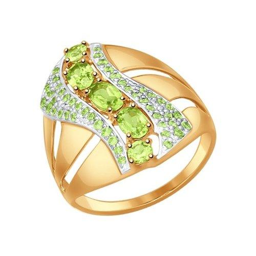 Кольцо из золота с зелёными фианитами и хризолитами