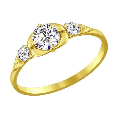 Кольцо из желтого золота со Swarovski Zirconia (81010188-2) - фото