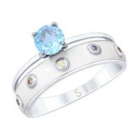 Кольцо из серебра с эмалью и топазом и фианитами