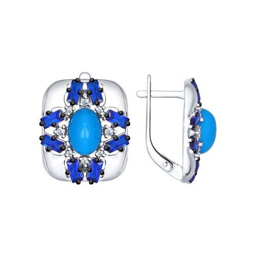 Серьги из серебра с бирюзой (синт.), синими и бесцветными фианитами