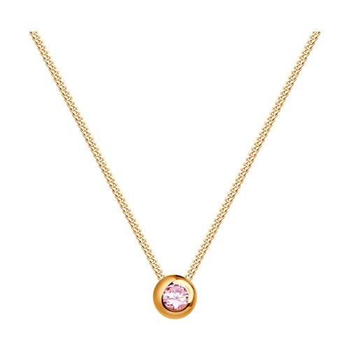 Колье из золота с розовым сапфиром (2070013) - фото