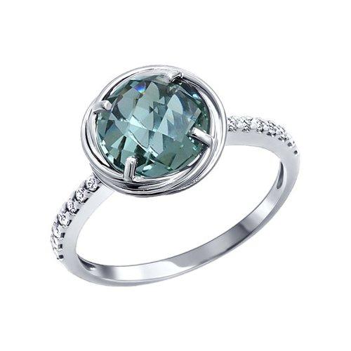 Классическое тонкое серебряное кольцо с крупным камнем