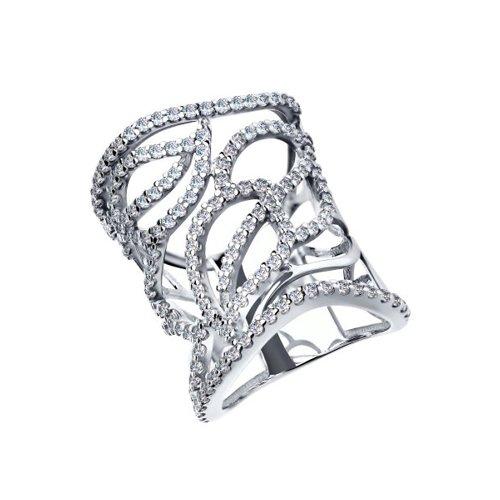 Широкое кольцо из серебра с фианитами
