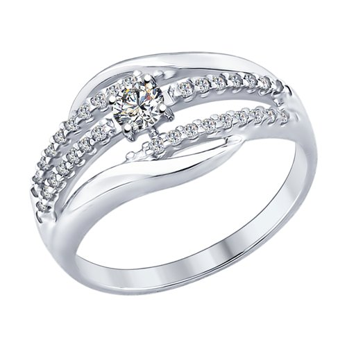 Кольцо из серебра с фианитами (94012298) - фото