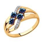 Кольцо из золота с бесцветными и синими Swarovski Zirconia