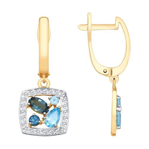 Серьги из золота с голубыми и синими топазами и фианитами (725575) - фото