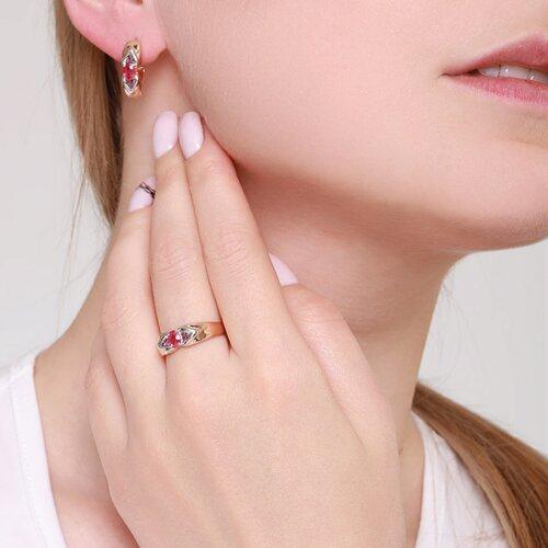 Кольцо из золота с рубинами (4010617) - фото №4
