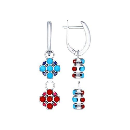 Серьги длинные SOKOLOV из серебра с бирюзой (синт.), кораллами, синими и красными фианитами