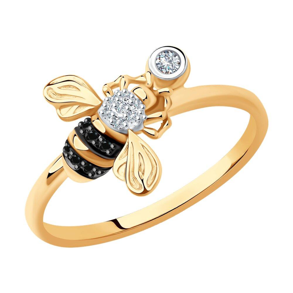 Фото - Кольцо SOKOLOV из золота с бриллиантами и черными облагороженными бриллиантами подвеска sokolov из желтого золота с бриллиантами и черными облагороженными бриллиантами