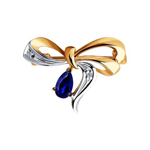 Брошь из золота с бриллиантами и синими корундами