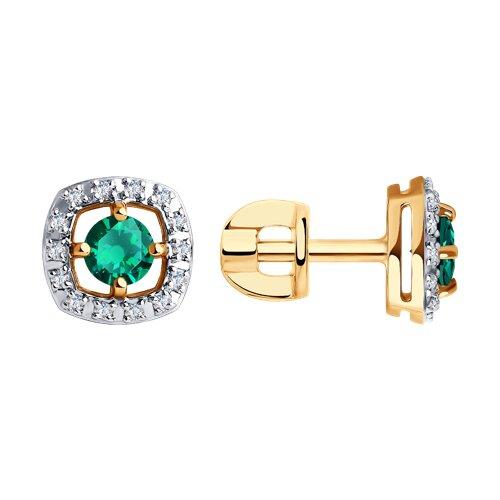 Серьги из золота с бриллиантами и изумрудами (3020468) - фото