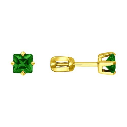 Серьги-пусеты из желтого золота с зелеными фианитами (022172-2) - фото