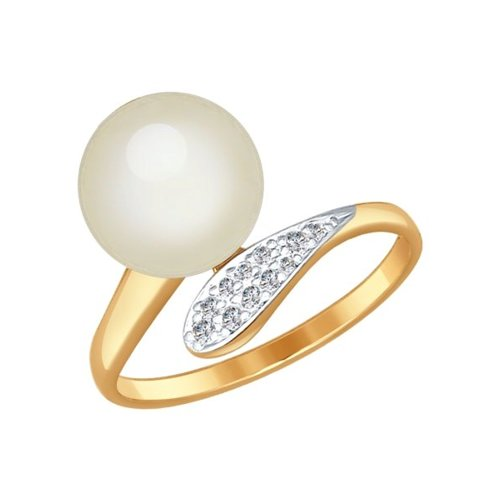 Кольцо SOKOLOV из золота с жемчугом и фианитами фото
