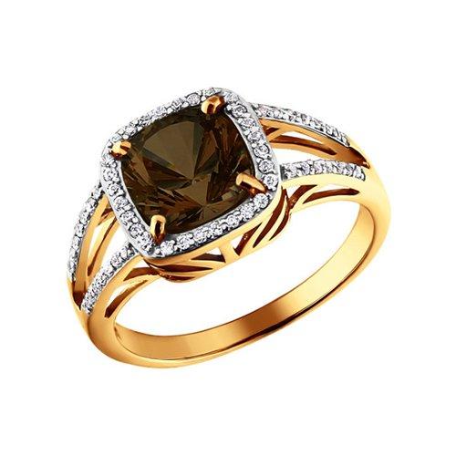 Золотое кольцо c коричневым раухтопазом SOKOLOV золотое кольцо ювелирное изделие 01k663088