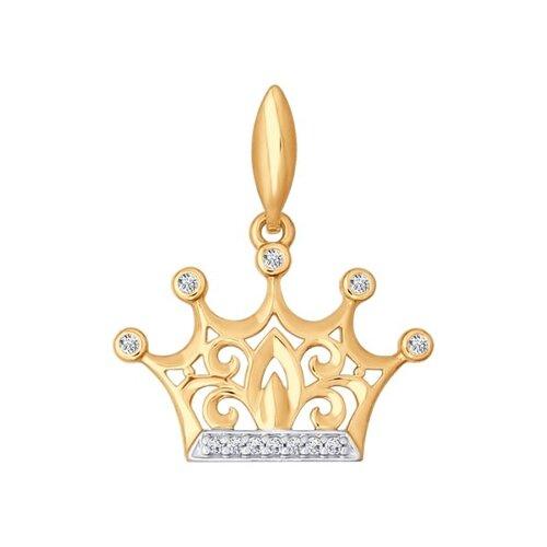 Золотая подвеска «Корона» (034783) - фото
