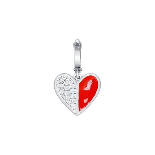 Подвеска в форме сердца с эмалью и фианитами SOKOLOV подвеска в форме клевера с фианитами