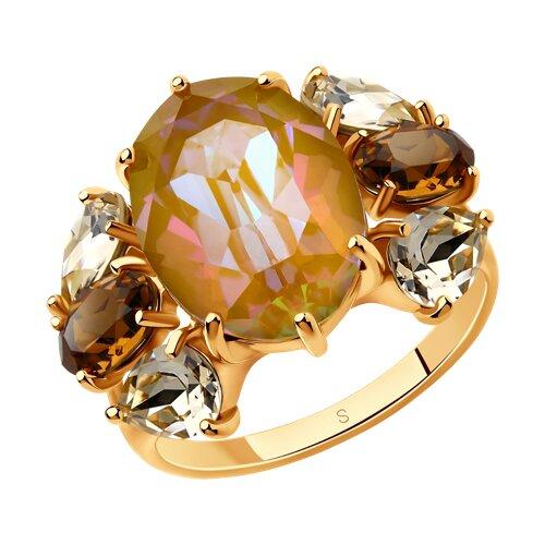 Кольцо из золочёного серебра с жёлтыми и коричневыми кристаллами Swarovski (93010826) - фото