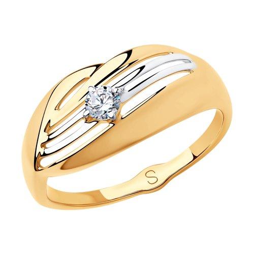Кольцо из золота с фианитом (018179) - фото