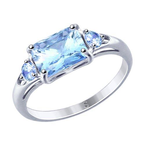 Кольцо из серебра с фианитами (94012763) - фото