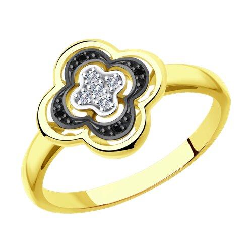 Кольцо из желтого золота с бриллиантами (7010070) - фото