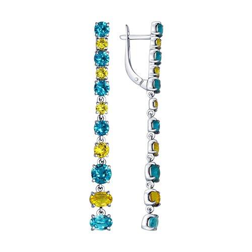 Длинные серебряные серьги с кристаллами Swarovski