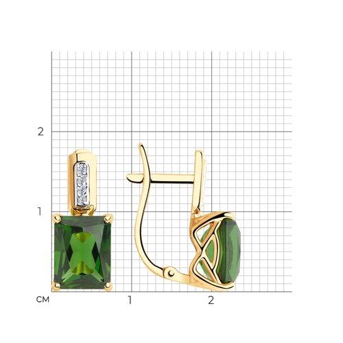 Серьги из золота с зелеными ситаллами и фианитами 725836 SOKOLOV фото 2