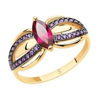 Кольцо из золота с родолитом и фианитами