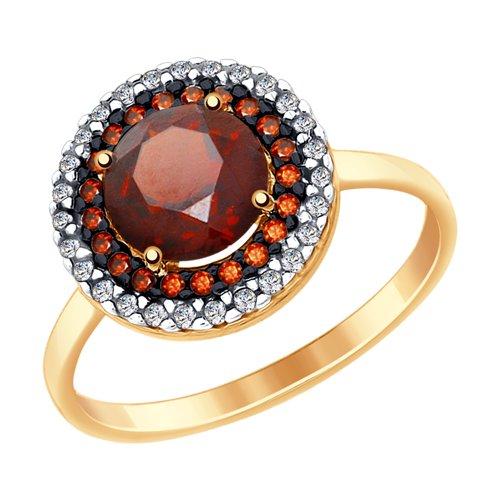 Кольцо из золота с гранатом и бесцветными и красными фианитами (714974) - фото