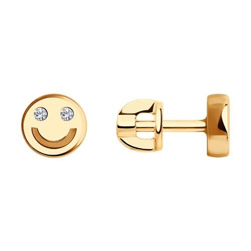 Серьги из золота с фианитами (028772) - фото