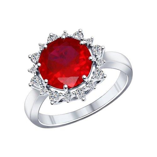 Кольцо из серебра с корундом рубиновым (синт.) и фианитами (84010005) - фото