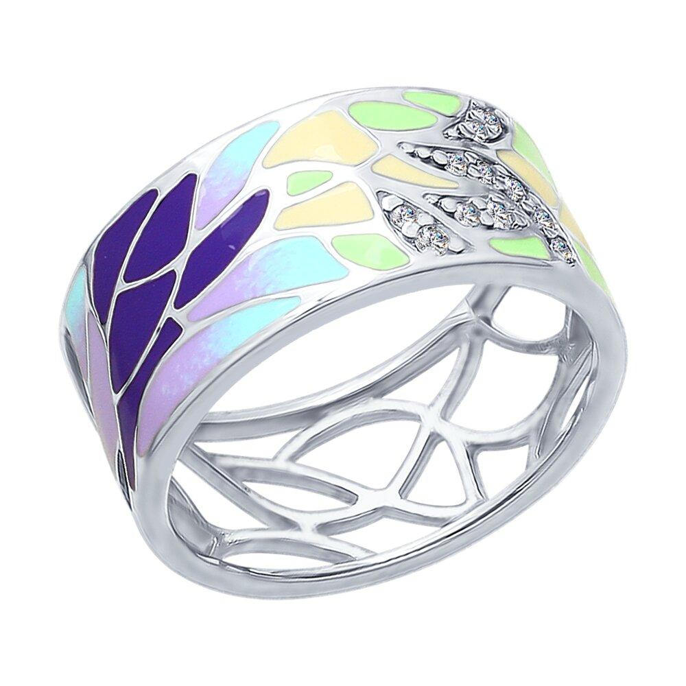 Кольцо SOKOLOV из серебра с эмалью с фианитами кольцо с бантиком sokolov из серебра