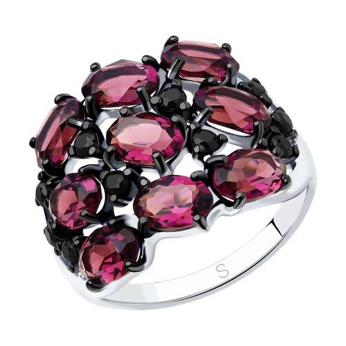 Кольцо из серебра с кристаллами Swarovski и фианитами (94012683) - фото