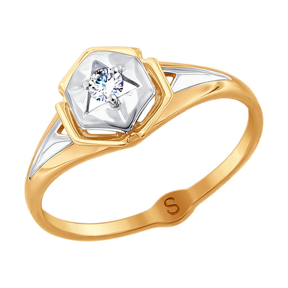 Фото - Кольцо SOKOLOV из комбинированного золота с фианитом кольцо sokolov из комбинированного золота с синим фианитом