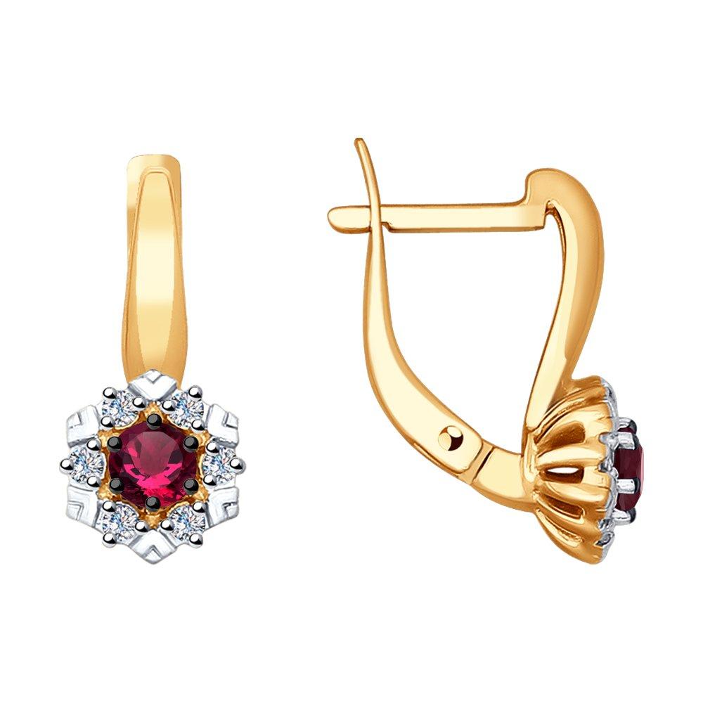 Серьги SOKOLOV из золота с бриллиантами и рубинами цена 2017