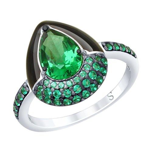Кольцо из серебра с эмалью и зелёным ситаллом и фианитами (92011672) - фото