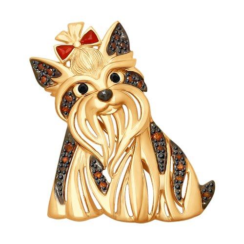 Золотая брошь «Собака» с черными бриллиантами