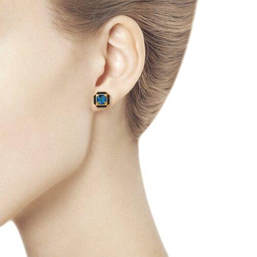 Серьги из золота с синими топазами и чёрными фианитами (725214) - фото №3