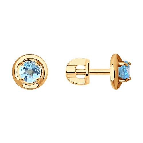 Серьги-пусеты из золота с голубыми топазами
